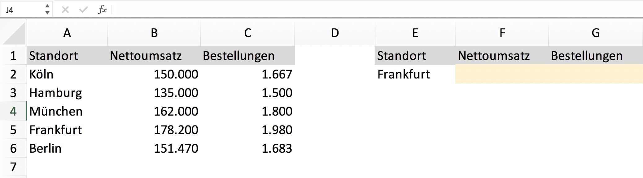 SVERWEIS Excel Beispiel Aufgabe