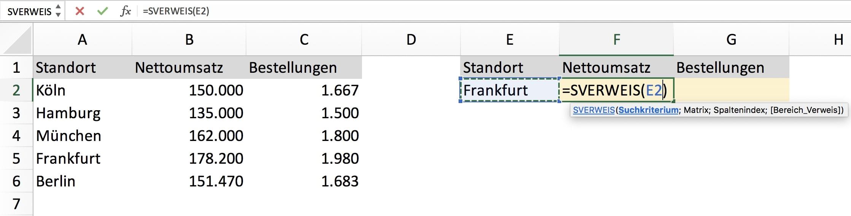 SVERWEIS Excel Beispiel Aufgabe Schritt 2