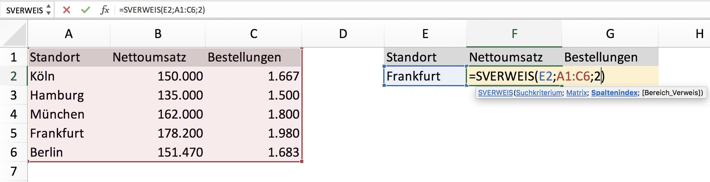 SVERWEIS Excel Beispiel Aufgabe Schritt 4
